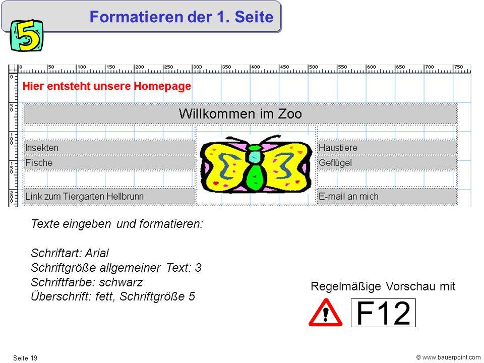 © www.bauerpoint.com Seite 19 Formatieren der 1. Seite Texte eingeben und formatieren: Schriftart: Arial Schriftgröße allgemeiner Text: 3 Schriftfarbe