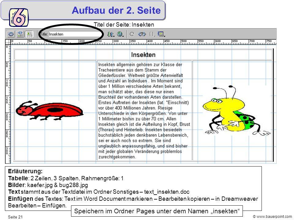 © www.bauerpoint.com Seite 21 Aufbau der 2. Seite Erläuterung: Tabelle: 2 Zeilen, 3 Spalten, Rahmengröße: 1 Bilder: kaefer.jpg & bug288.jpg Text stamm