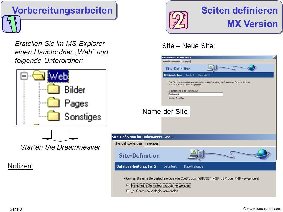 © www.bauerpoint.com Seite 3 Vorbereitungsarbeiten Erstellen Sie im MS-Explorer einen Hauptordner Web und folgende Unterordner: Starten Sie Dreamweave