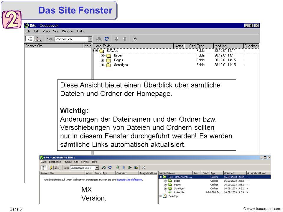 © www.bauerpoint.com Seite 6 Das Site Fenster Diese Ansicht bietet einen Überblick über sämtliche Dateien und Ordner der Homepage. Wichtig: Änderungen