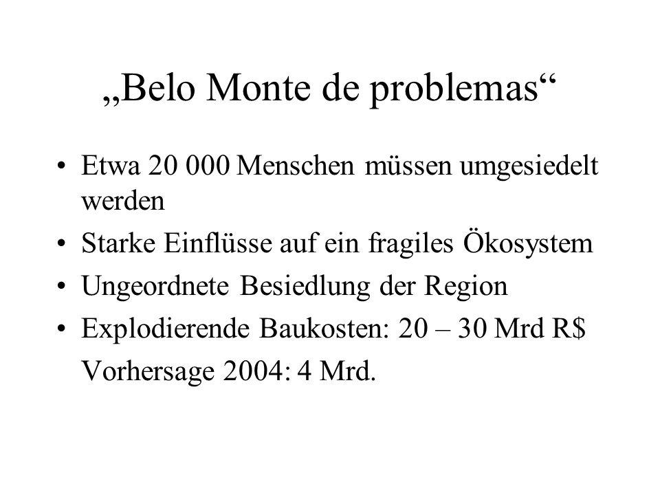 Belo Monte de problemas Etwa 20 000 Menschen müssen umgesiedelt werden Starke Einflüsse auf ein fragiles Ökosystem Ungeordnete Besiedlung der Region Explodierende Baukosten: 20 – 30 Mrd R$ Vorhersage 2004: 4 Mrd.