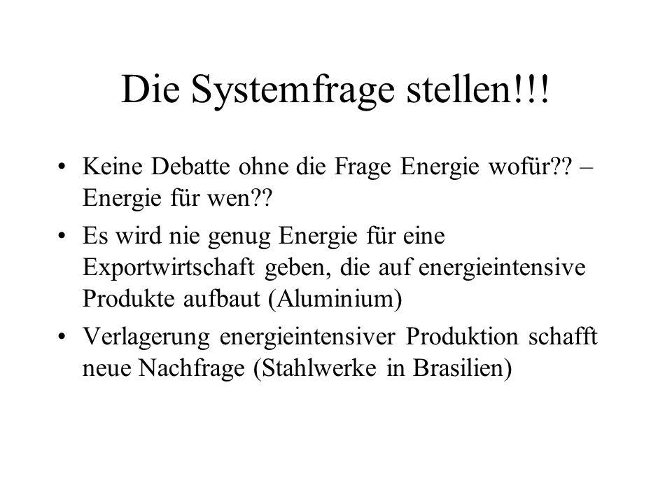 Die Systemfrage stellen!!. Keine Debatte ohne die Frage Energie wofür .