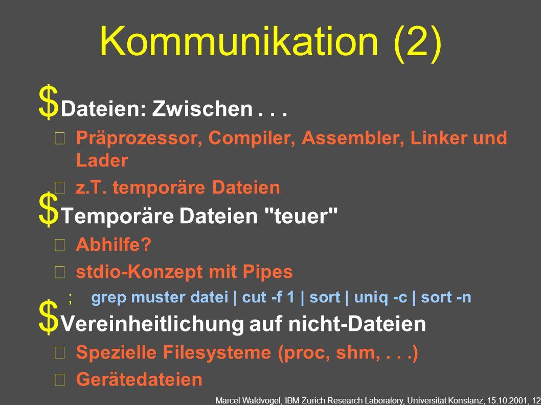 Marcel Waldvogel, IBM Zurich Research Laboratory, Universität Konstanz, 15.10.2001, 12 Kommunikation (2) Dateien: Zwischen...