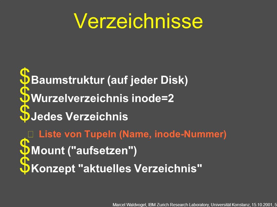 Marcel Waldvogel, IBM Zurich Research Laboratory, Universität Konstanz, 15.10.2001, 5 Verzeichnisse Baumstruktur (auf jeder Disk) Wurzelverzeichnis inode=2 Jedes Verzeichnis Liste von Tupeln (Name, inode-Nummer) Mount ( aufsetzen ) Konzept aktuelles Verzeichnis
