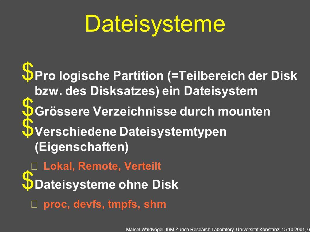Marcel Waldvogel, IBM Zurich Research Laboratory, Universität Konstanz, 15.10.2001, 7 Operationen auf Dateien Verzeichnis lesen opendir(), readdir(), closedir() Wieso nicht open(), read(), close().