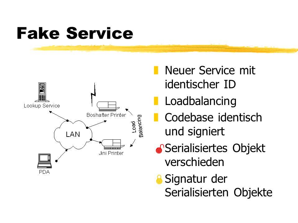 Fake Service z Neuer Service mit identischer ID z Loadbalancing z Codebase identisch und signiert Serialisiertes Objekt verschieden Signatur der Serialisierten Objekte