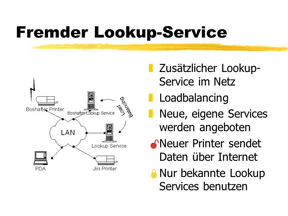 Fremder Lookup-Service z Zusätzlicher Lookup- Service im Netz z Loadbalancing z Neue, eigene Services werden angeboten Neuer Printer sendet Daten über Internet Nur bekannte Lookup Services benutzen