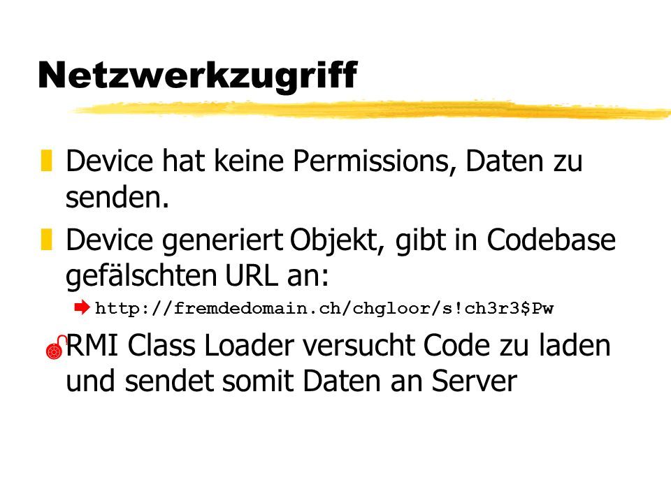 Netzwerkzugriff zDevice hat keine Permissions, Daten zu senden.
