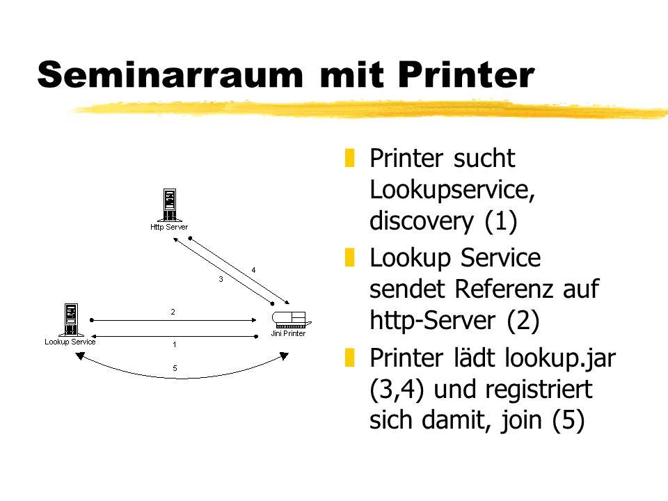 Seminarraum mit Printer z Printer sucht Lookupservice, discovery (1) z Lookup Service sendet Referenz auf http-Server (2) z Printer lädt lookup.jar (3,4) und registriert sich damit, join (5)