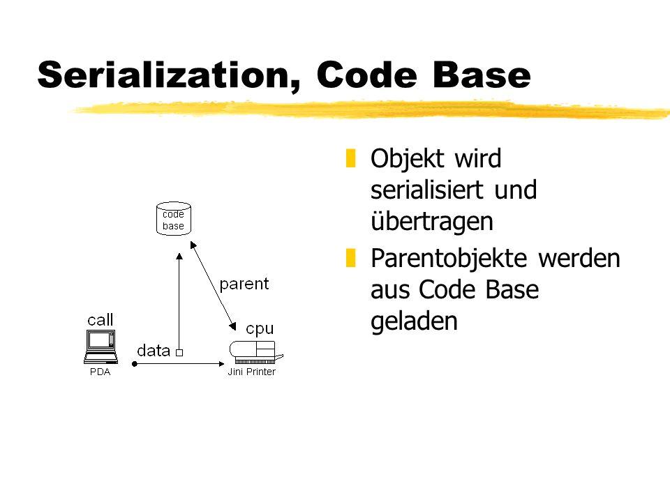 Serialization, Code Base z Objekt wird serialisiert und übertragen z Parentobjekte werden aus Code Base geladen