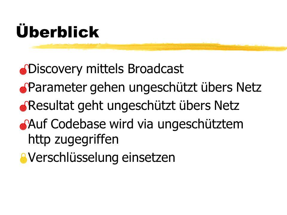 Überblick Discovery mittels Broadcast Parameter gehen ungeschützt übers Netz Resultat geht ungeschützt übers Netz Auf Codebase wird via ungeschütztem http zugegriffen Verschlüsselung einsetzen