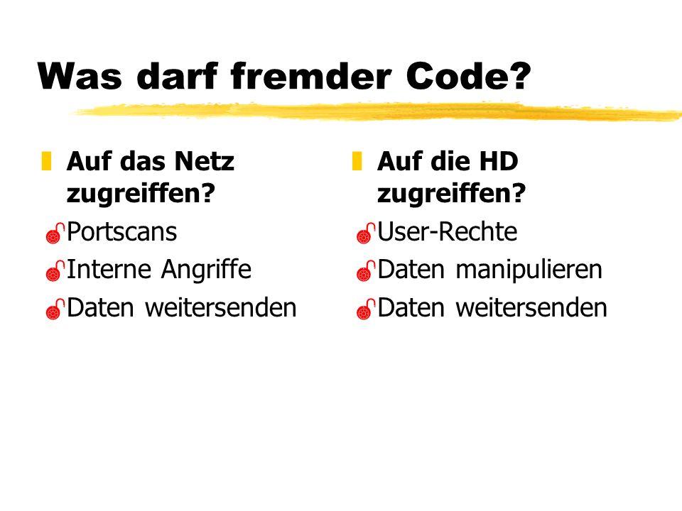 Was darf fremder Code. zAuf das Netz zugreiffen.