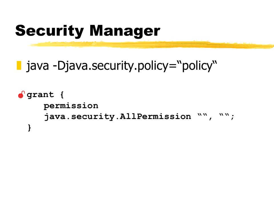 Security Manager zjava -Djava.security.policy=policy grant { permission java.security.AllPermission, ; }