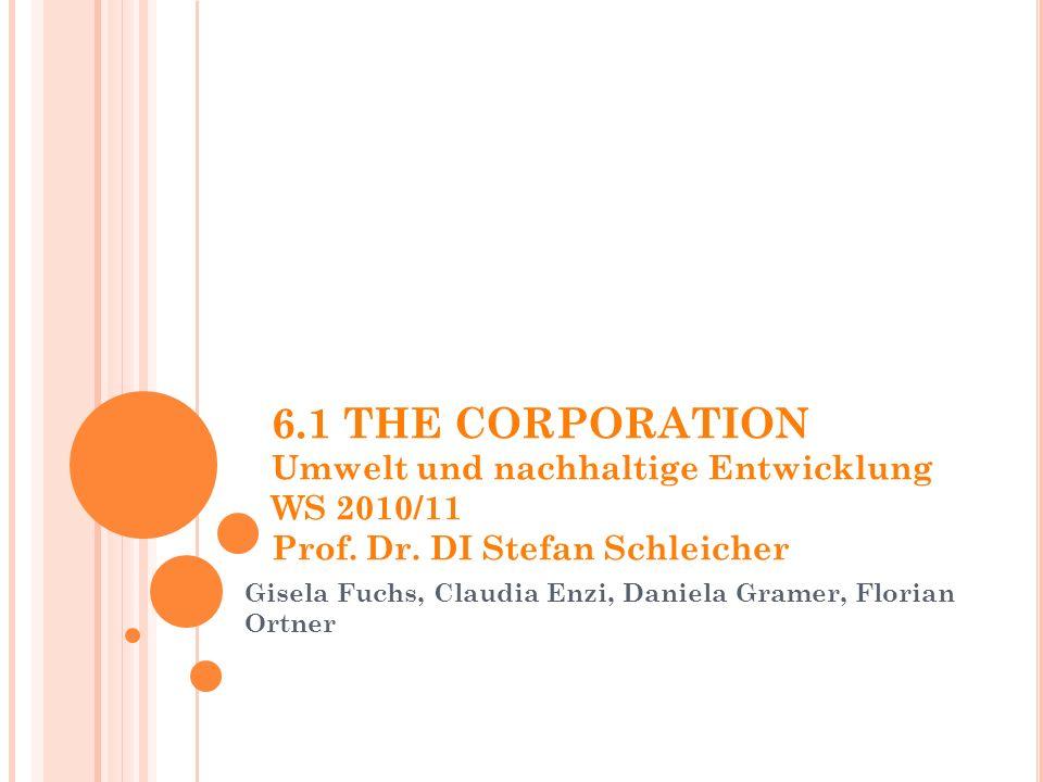 6.1 THE CORPORATION Umwelt und nachhaltige Entwicklung WS 2010/11 Prof.