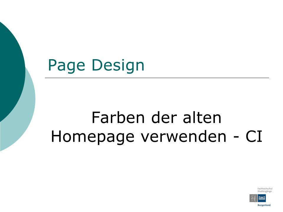 Page Design Farben der alten Homepage verwenden - CI