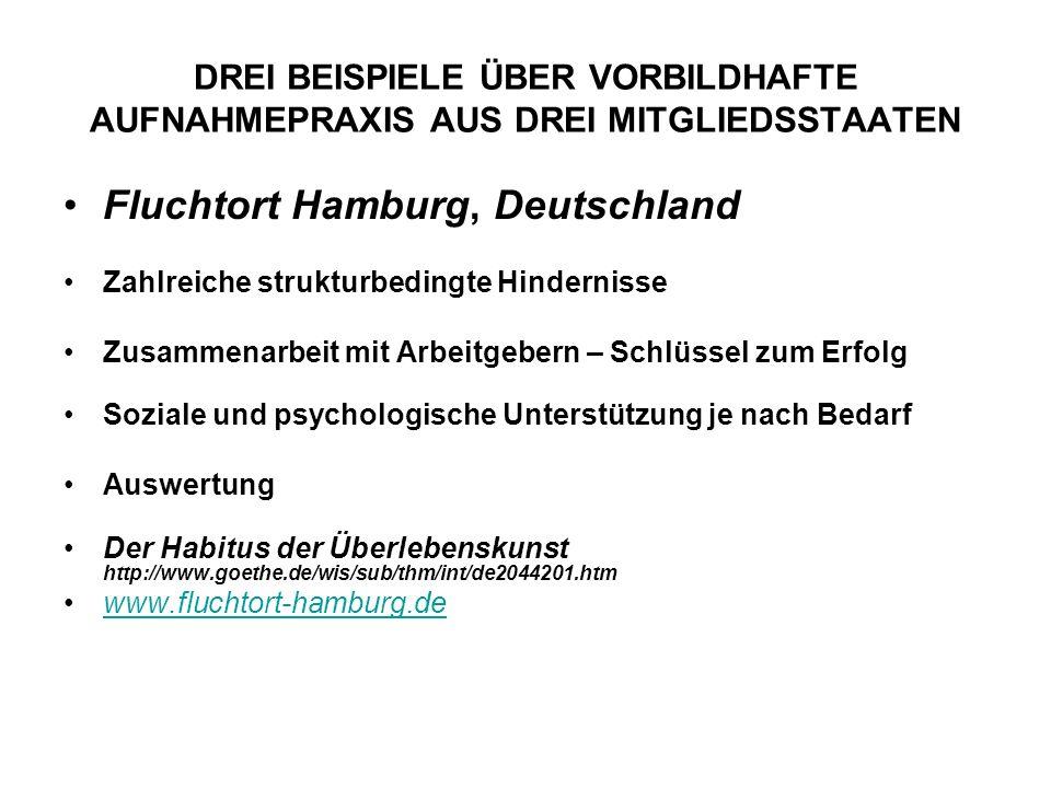 DREI BEISPIELE ÜBER VORBILDHAFTE AUFNAHMEPRAXIS AUS DREI MITGLIEDSSTAATEN Fluchtort Hamburg, Deutschland Zahlreiche strukturbedingte Hindernisse Zusammenarbeit mit Arbeitgebern – Schlüssel zum Erfolg Soziale und psychologische Unterstützung je nach Bedarf Auswertung Der Habitus der Überlebenskunst http://www.goethe.de/wis/sub/thm/int/de2044201.htm www.fluchtort-hamburg.de