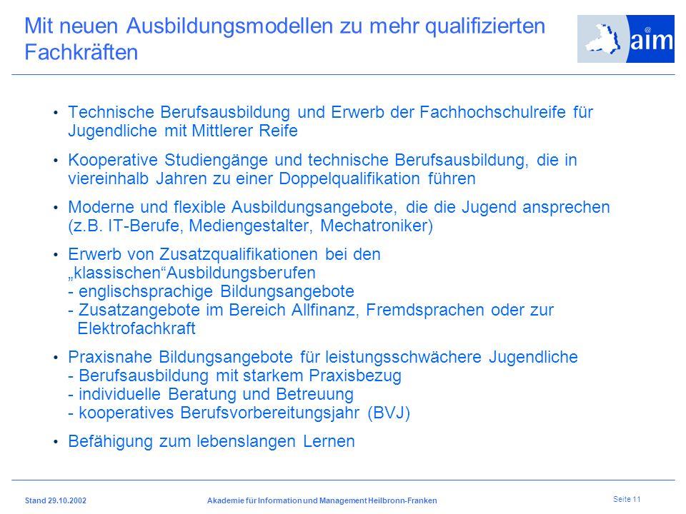I H K H e i l b r o n n - F r a n k e n Stand 29.10.2002Akademie für Information und Management Heilbronn-Franken Seite 10 Weiterentwicklung der Beruf