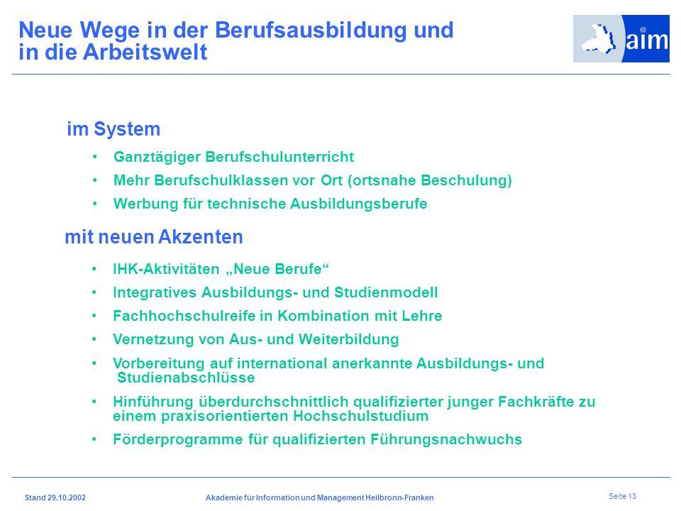 I H K H e i l b r o n n - F r a n k e n Stand 29.10.2002Akademie für Information und Management Heilbronn-Franken Seite 12 Mehr qualifizierte Fachkräf