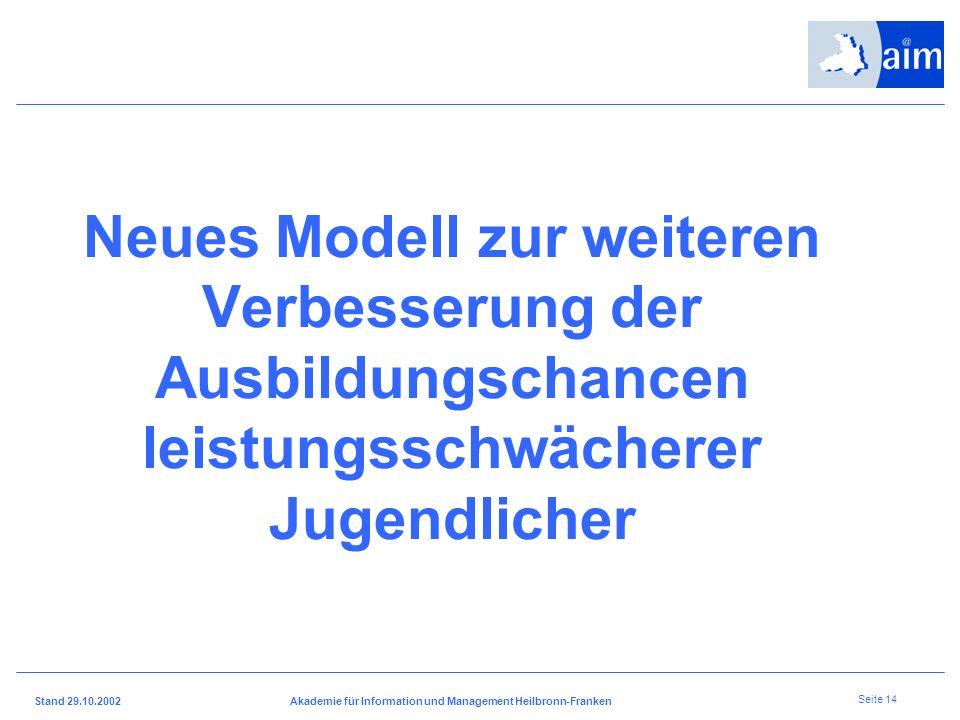 I H K H e i l b r o n n - F r a n k e n Stand 29.10.2002Akademie für Information und Management Heilbronn-Franken Seite 13 Neue Wege in der Berufsausb