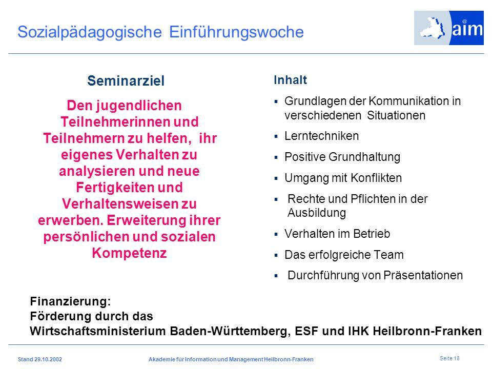 I H K H e i l b r o n n - F r a n k e n Stand 29.10.2002Akademie für Information und Management Heilbronn-Franken Seite 17 Kernelemente des betriebsor