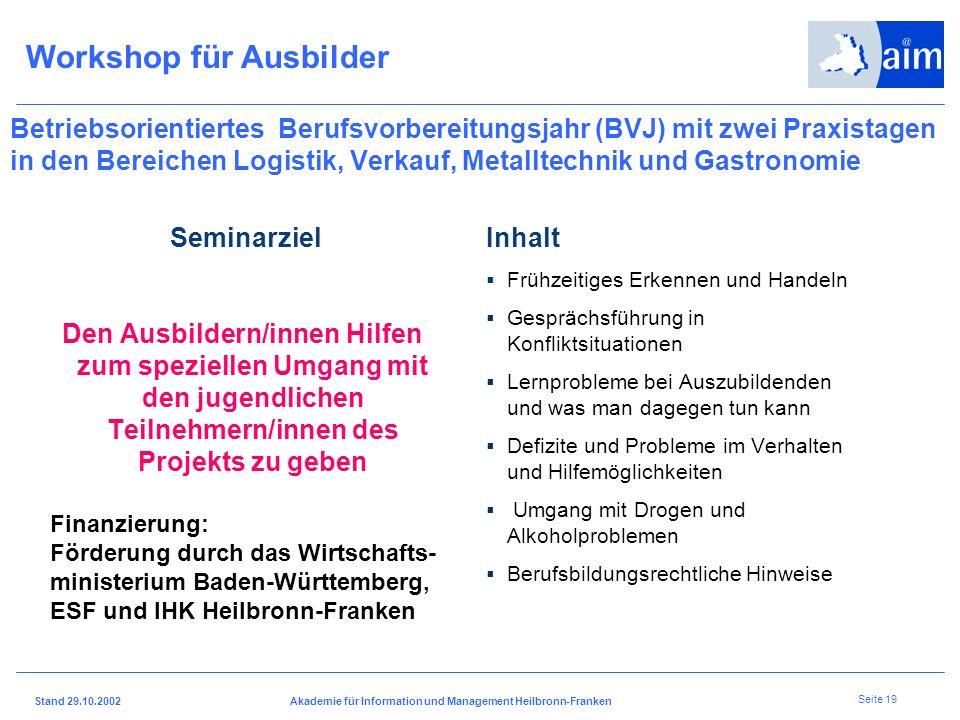I H K H e i l b r o n n - F r a n k e n Stand 29.10.2002Akademie für Information und Management Heilbronn-Franken Seite 18 Sozialpädagogische Einführu