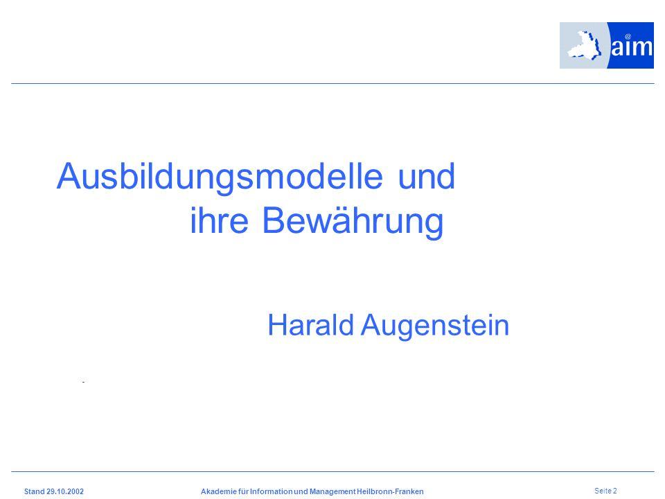 Stand 29.10.2002Akademie für Information und Management Heilbronn-Franken Seite 1 Berufsschulsymposium 20. November 2002