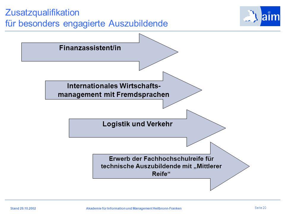 I H K H e i l b r o n n - F r a n k e n Stand 29.10.2002Akademie für Information und Management Heilbronn-Franken Seite 19 Betriebsorientiertes Berufs