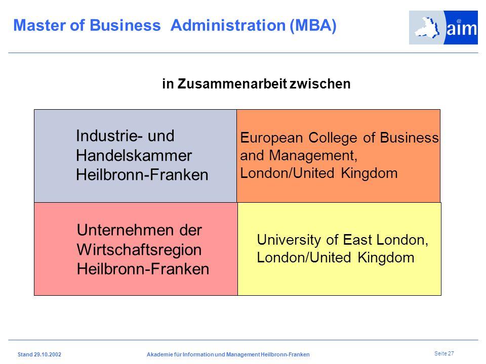 I H K H e i l b r o n n - F r a n k e n Stand 29.10.2002Akademie für Information und Management Heilbronn-Franken Seite 26 Mittlere Reife oder Abitur