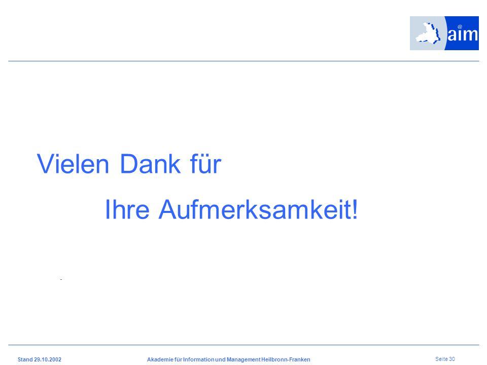 I H K H e i l b r o n n - F r a n k e n Stand 29.10.2002Akademie für Information und Management Heilbronn-Franken Seite 29 6 Intensiv Seminare mit Doz
