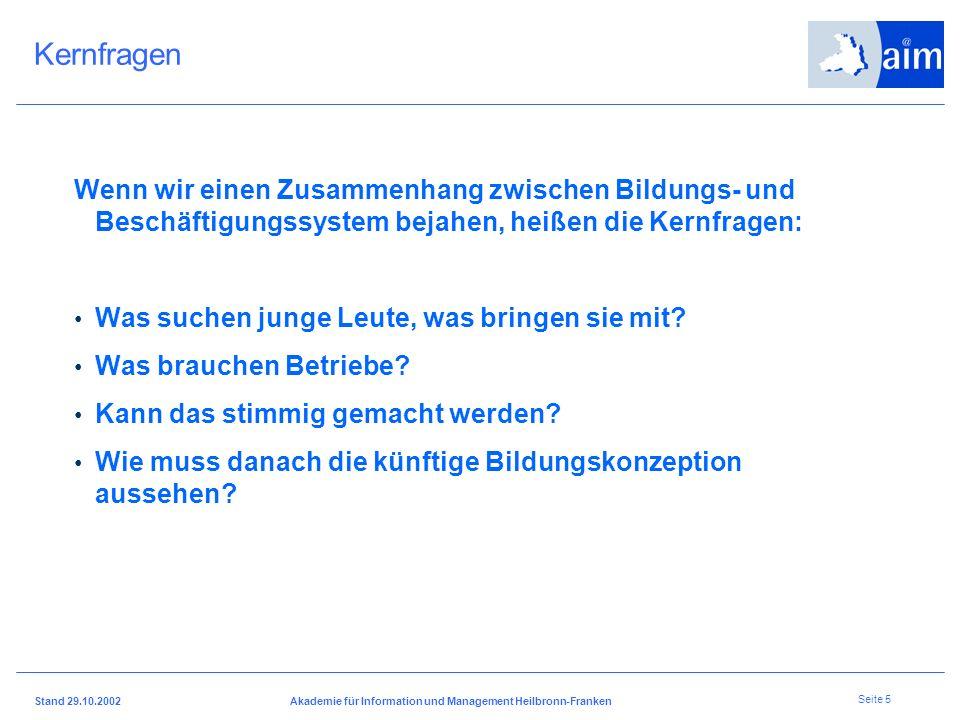 Stand 29.10.2002Akademie für Information und Management Heilbronn-Franken Seite 4 Gesellschaft und Wirtschaft Bildung und Beruf – Schlüssel für eine e