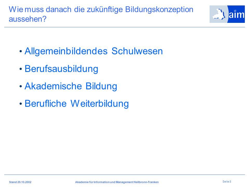 I H K H e i l b r o n n - F r a n k e n Stand 29.10.2002Akademie für Information und Management Heilbronn-Franken Seite 7 Was brauchen Betriebe? Junge