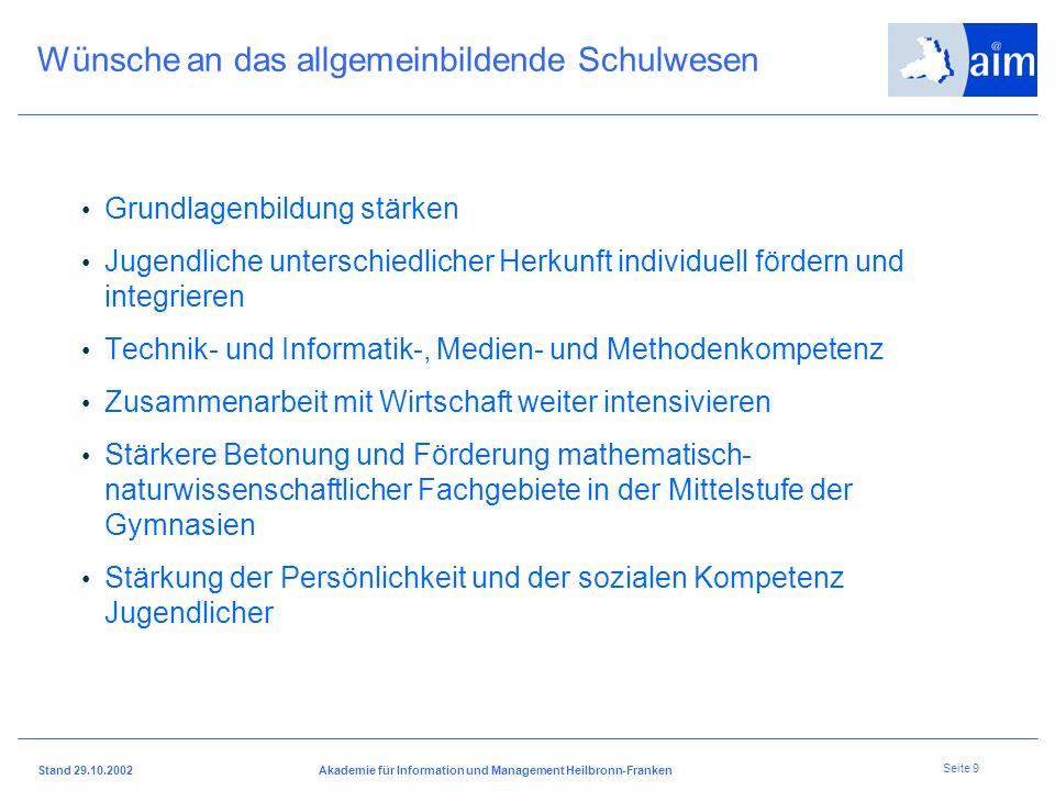 I H K H e i l b r o n n - F r a n k e n Stand 29.10.2002Akademie für Information und Management Heilbronn-Franken Seite 8 Wie muss danach die zukünfti