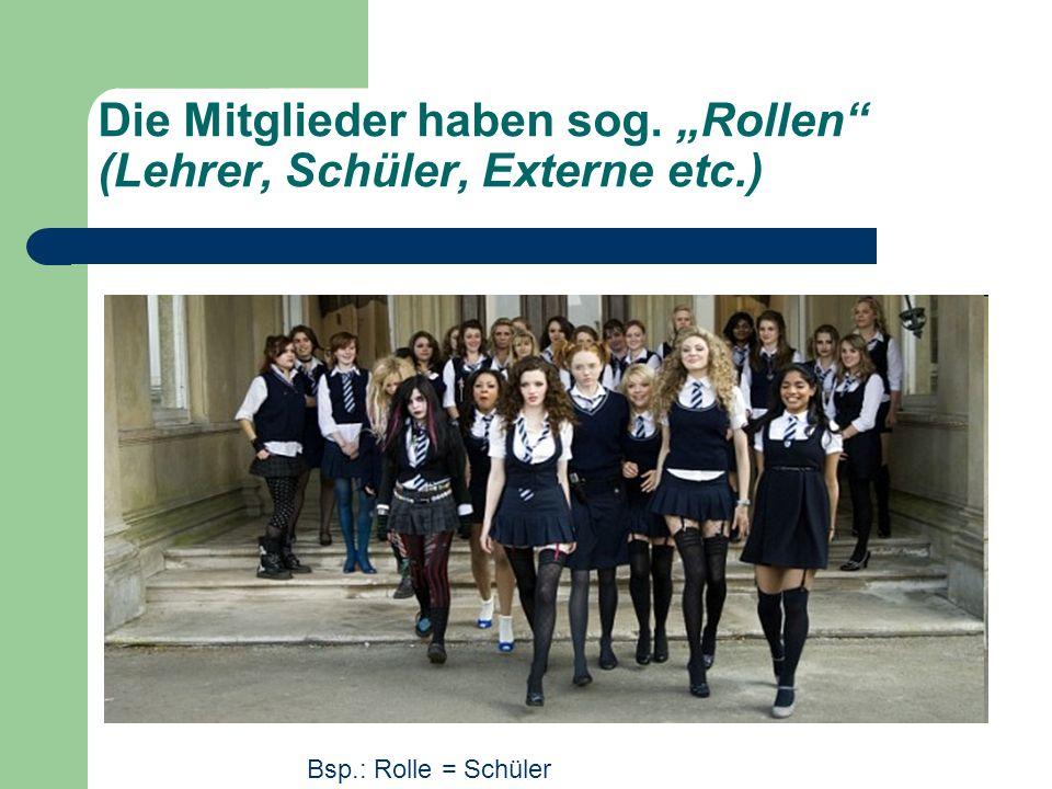 Die Mitglieder haben sog. Rollen (Lehrer, Schüler, Externe etc.) Bsp.: Rolle = Schüler