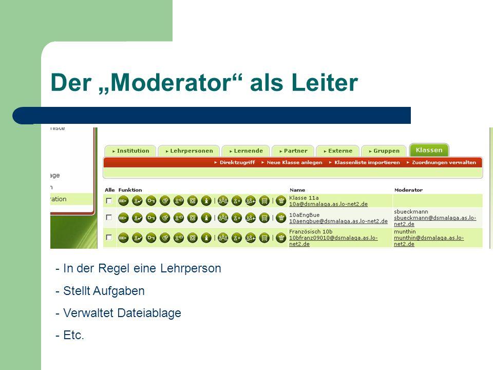Der Moderator als Leiter - In der Regel eine Lehrperson - Stellt Aufgaben - Verwaltet Dateiablage - Etc.