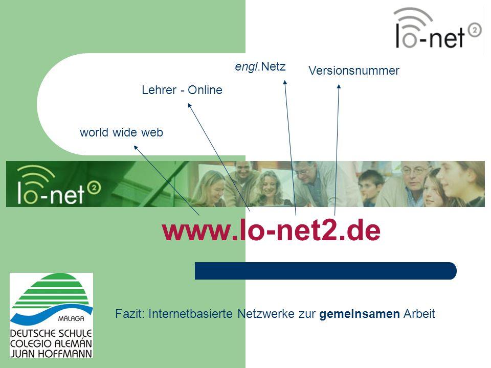 world wide web Lehrer - Online engl.Netz Versionsnummer Fazit: Internetbasierte Netzwerke zur gemeinsamen Arbeit