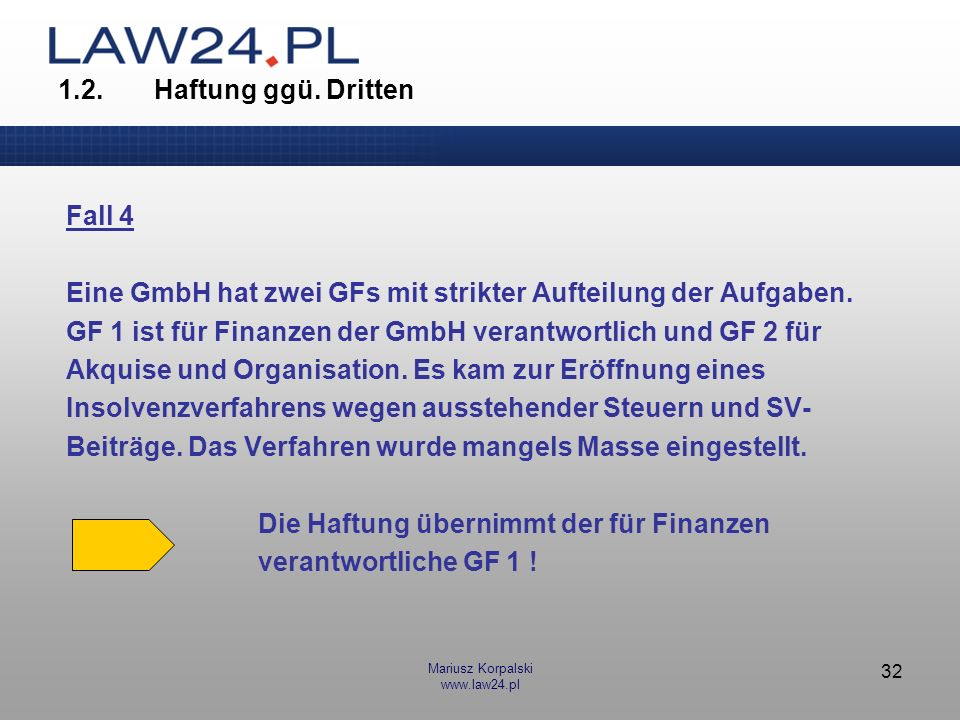 Mariusz Korpalski www.law24.pl 32 1.2.Haftung ggü. Dritten Fall 4 Eine GmbH hat zwei GFs mit strikter Aufteilung der Aufgaben. GF 1 ist für Finanzen d