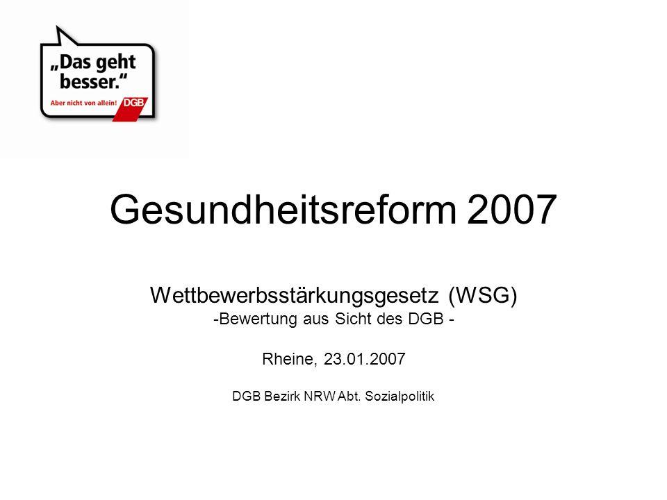 Gesundheitsreform 2007 Wettbewerbsstärkungsgesetz (WSG) -Bewertung aus Sicht des DGB - Rheine, 23.01.2007 DGB Bezirk NRW Abt. Sozialpolitik