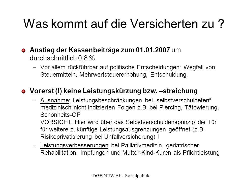 DGB NRW Abt. Sozialpolitik Was kommt auf die Versicherten zu ? Anstieg der Kassenbeiträge zum 01.01.2007 um durchschnittlich 0,8 %. –Vor allem rückfüh