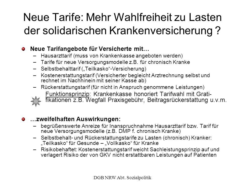 DGB NRW Abt. Sozialpolitik Neue Tarife: Mehr Wahlfreiheit zu Lasten der solidarischen Krankenversicherung ? Neue Tarifangebote für Versicherte mit… –H