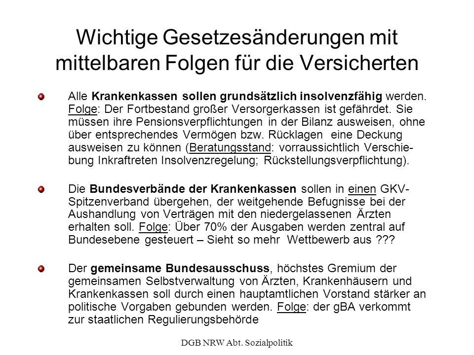 DGB NRW Abt. Sozialpolitik Wichtige Gesetzesänderungen mit mittelbaren Folgen für die Versicherten Alle Krankenkassen sollen grundsätzlich insolvenzfä