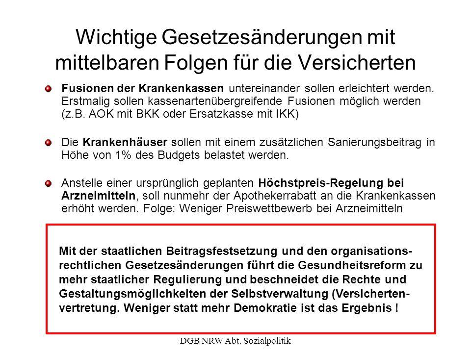 DGB NRW Abt. Sozialpolitik Wichtige Gesetzesänderungen mit mittelbaren Folgen für die Versicherten Fusionen der Krankenkassen untereinander sollen erl