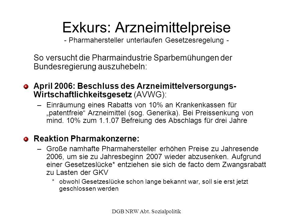 DGB NRW Abt. Sozialpolitik Exkurs: Arzneimittelpreise - Pharmahersteller unterlaufen Gesetzesregelung - So versucht die Pharmaindustrie Sparbemühungen