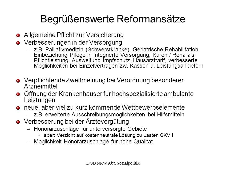 DGB NRW Abt. Sozialpolitik Begrüßenswerte Reformansätze Allgemeine Pflicht zur Versicherung Verbesserungen in der Versorgung –z.B. Palliativmedizin (S