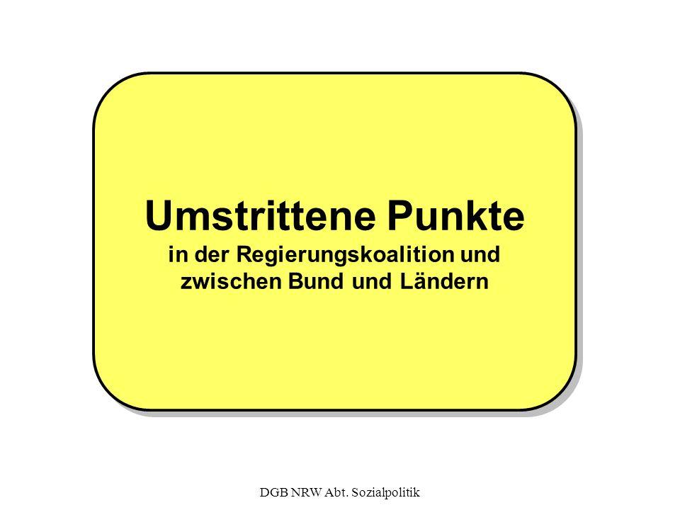 DGB NRW Abt. Sozialpolitik Umstrittene Punkte in der Regierungskoalition und zwischen Bund und Ländern Umstrittene Punkte in der Regierungskoalition u