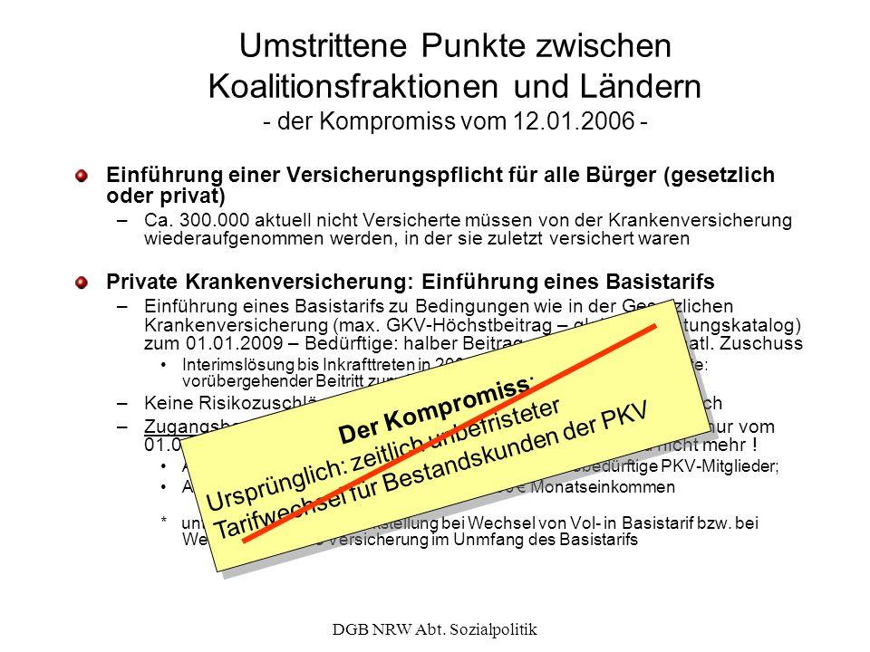 DGB NRW Abt. Sozialpolitik Umstrittene Punkte zwischen Koalitionsfraktionen und Ländern - der Kompromiss vom 12.01.2006 - Einführung einer Versicherun