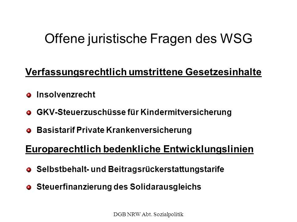 DGB NRW Abt. Sozialpolitik Offene juristische Fragen des WSG Verfassungsrechtlich umstrittene Gesetzesinhalte Insolvenzrecht GKV-Steuerzuschüsse für K