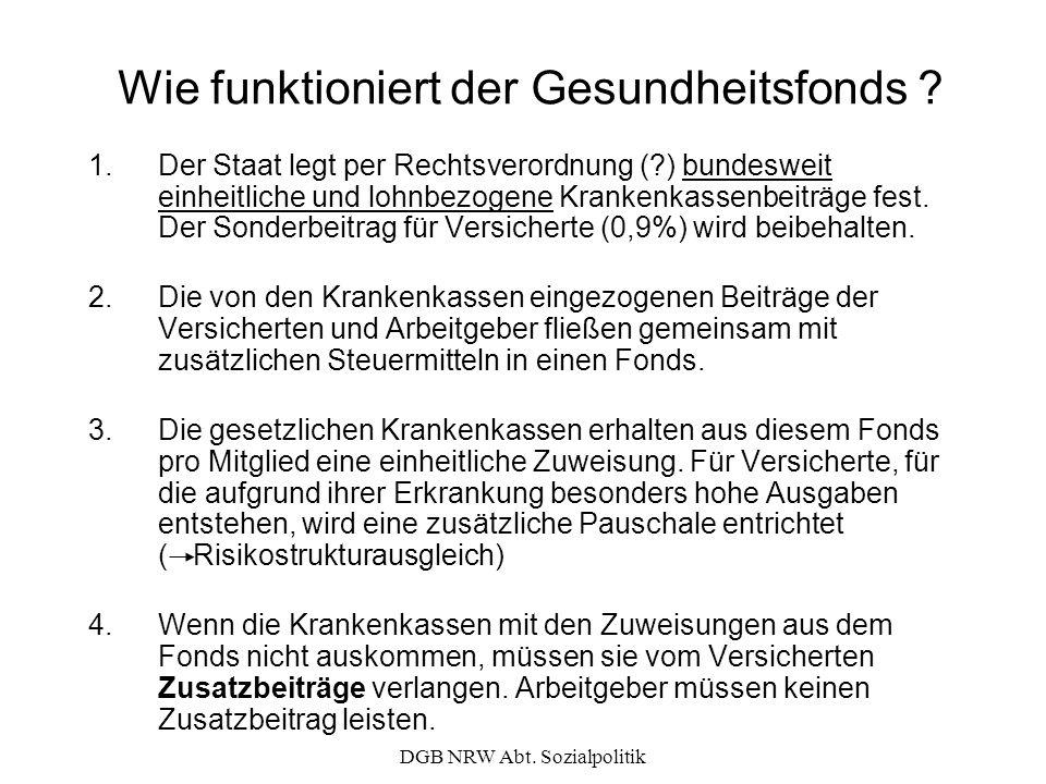 DGB NRW Abt. Sozialpolitik Wie funktioniert der Gesundheitsfonds ? 1.Der Staat legt per Rechtsverordnung (?) bundesweit einheitliche und lohnbezogene