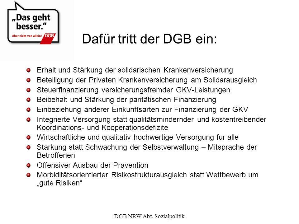 DGB NRW Abt. Sozialpolitik Dafür tritt der DGB ein: Erhalt und Stärkung der solidarischen Krankenversicherung Beteiligung der Privaten Krankenversiche