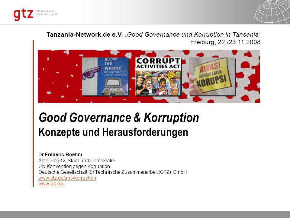 05.04.2014 Seite 42 Seite 42Frédéric Boehm Informationen U4 Anti-corruption Ressource Centre: http://www.u4.nohttp://www.u4.no Weltbank: Allgemein:http://www.worldbank.org/wbi/governancehttp://www.worldbank.org/wbi/governance Indikatoren: http://info.worldbank.org/governance/wgi/index.asphttp://info.worldbank.org/governance/wgi/index.asp UN Organisationen UNDP: http://www.undp.org/governance/http://www.undp.org/governance/ UNODC: http://www.unodc.org/unodc/de/corruption/index.htmlhttp://www.unodc.org/unodc/de/corruption/index.html OECD http://www.oecd.org/about/0,2337,en_2649_37447_1_1_1_1_37447,00.html http://www.oecd.org/department/0,3355,en_2649_34565_1_1_1_1_1,00.html Zivilgesellschaft Transparency International: http://www.transparency.orghttp://www.transparency.org Global Integrity: http://www.globalintegrity.org/http://www.globalintegrity.org/ Global Witness: http://www.globalwitness.orghttp://www.globalwitness.org Tiri: http://www.tiri.org/http://www.tiri.org/ Publish What You Fund Initiative:http://www.publishwhatyoufund.org/http://www.publishwhatyoufund.org/ Gewerkschaften: http://www.againstcorruption.org/http://www.againstcorruption.org/ Water Integrity network: http://www.waterintegritynetwork.net/ /http://www.waterintegritynetwork.net/ Global Organization of parliamentarians Against Corruption (GOPAC) http://www.gopacnetwork.org African Parliamentarians Network Against Corruption http://www.apnacafrica.org/home_f.htm Forschung (z.B.) Internet Center for Corruption Research: http://www.icgg.orghttp://www.icgg.org Basel Institute on Governance http://www.baselgovernance.orghttp://www.baselgovernance.org Chr.