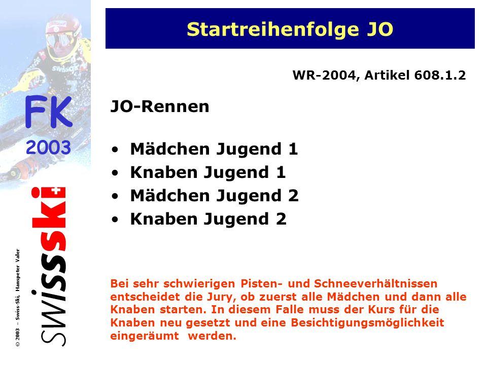 FK 2003 © 2003 – Swiss-Ski, Hanspeter Valer Startreihenfolge JO JO-Rennen Mädchen Jugend 1 Knaben Jugend 1 Mädchen Jugend 2 Knaben Jugend 2 WR-2004, A
